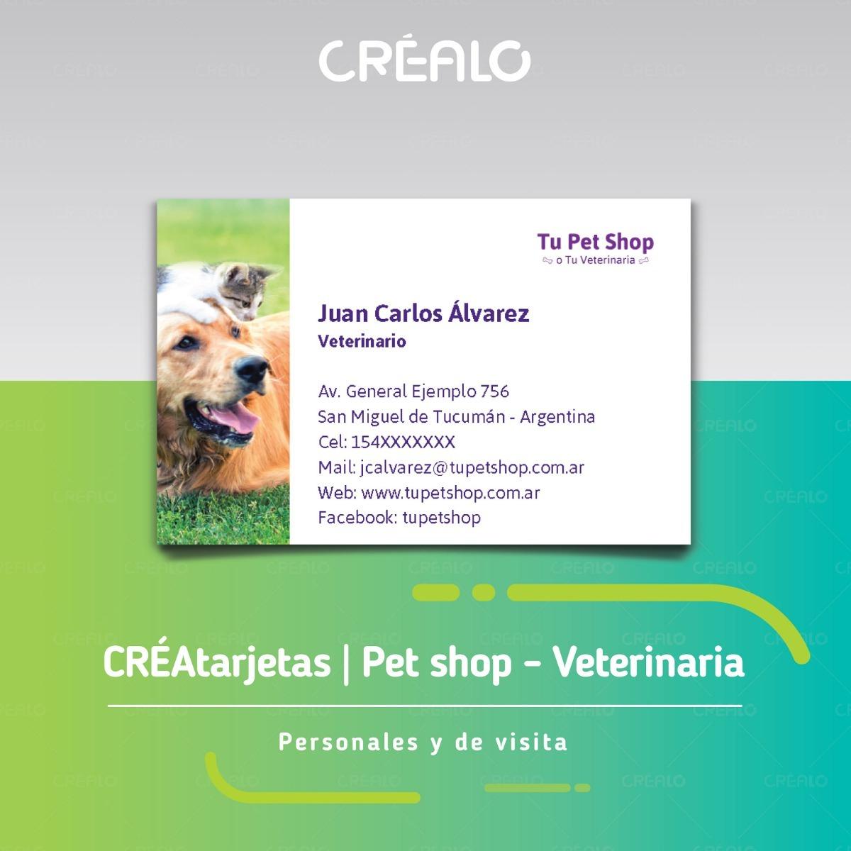 Tarjetas Personales Pet Shop Veterinaria Crealo Plantill 50