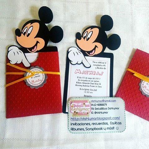 Tarjetas Personalizadas Invitacion Cumpleaños Mickey Minnie