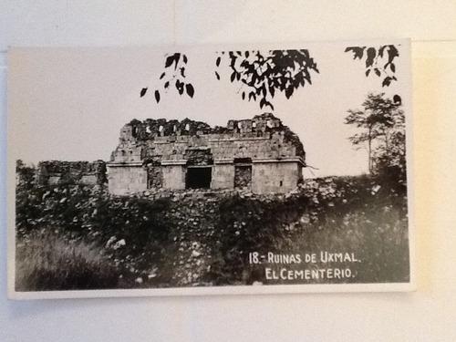tarjetas  postales antiguas ruinas de uxmal de los 50s