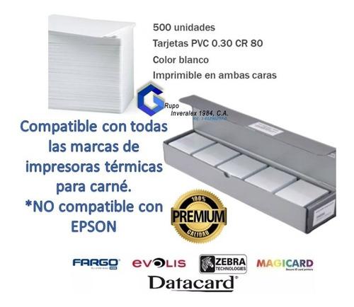 tarjetas pvc blancas para carnets original cr80.030 500 unid