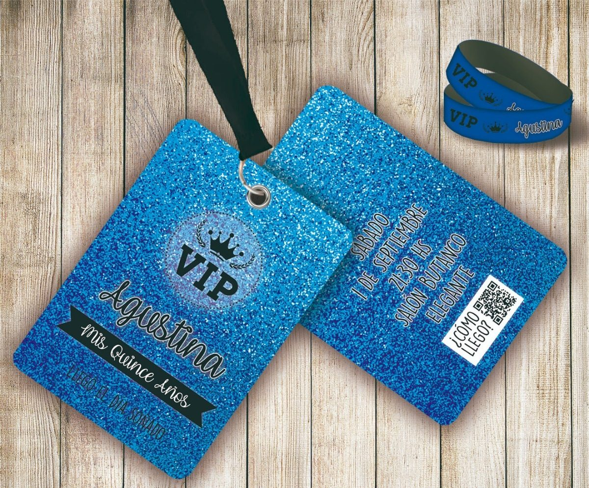 Tarjetas Vip Invitaciones Vip 15 Años Doble Con Pulsera Vip