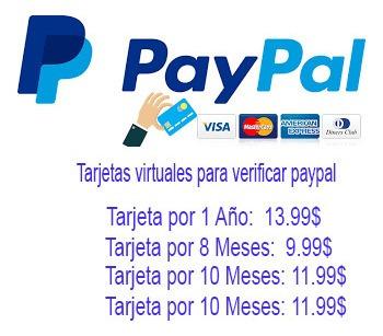 tarjetas virtuales para verificar paypal