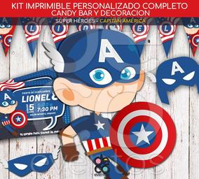 Tarjetas Y Candy Cumpleaños Capitán América Super Héroes