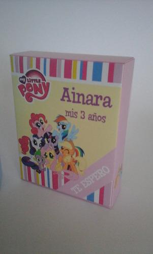 tarjetitas my little pony con forma de cajita de cereal