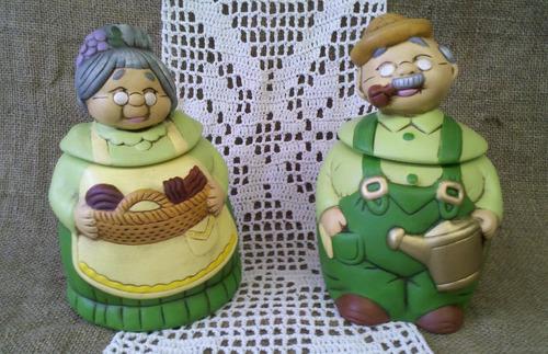 tarro de cocina  los abuelos otto y frida  cerámica