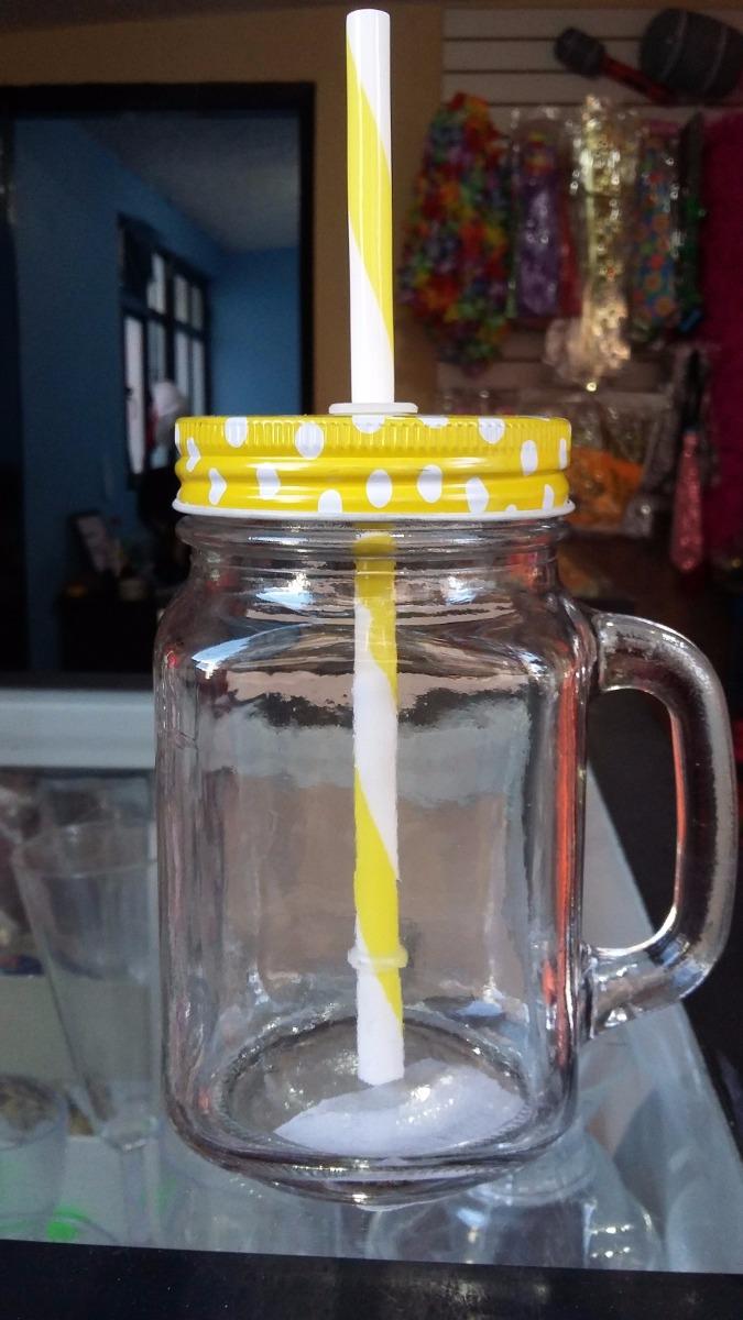 Tarro mason jar 16 oz vidrio con tapa y popote fiestas - Tarro cristal con tapa ...