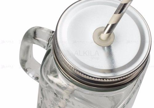 tarros mason jar con asa tapa y popote papel mayoreo remate