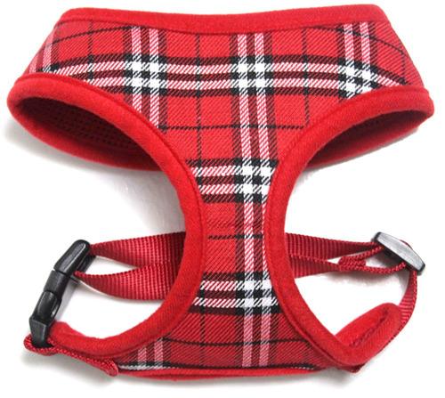 tartán malla para mascotas arneses rojo x - grande