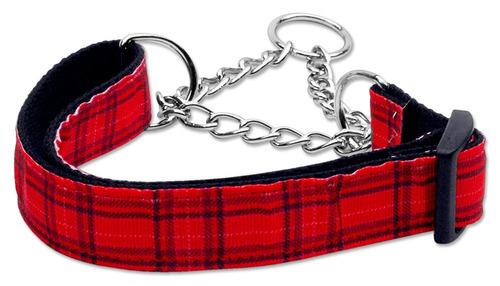 tartán nylon collar martingale rojo medio