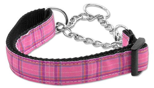 tartán nylon collar martingale rosa grande