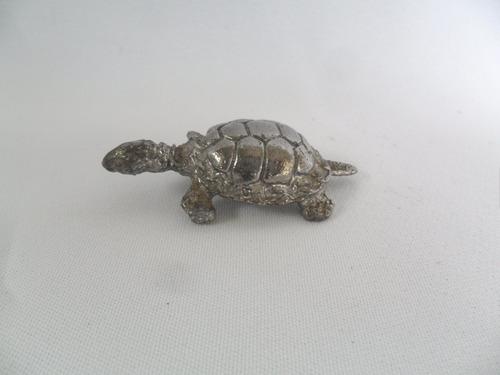 tartaruga miniatura escultura de metal coleção antiga