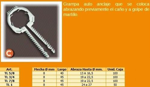 tarugo grampa para caños de luz 7/8 pulgada crecchio 100u