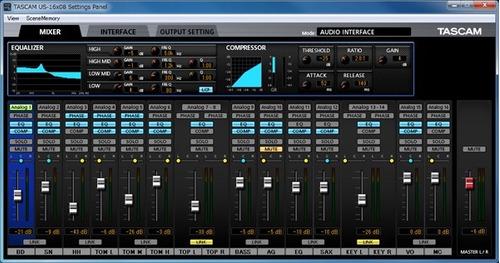 tascam us-16x08 interface usb profesional de estudio 24 bits