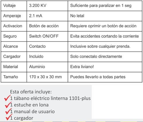 taser tabano electrico linterna police garantia + llavero
