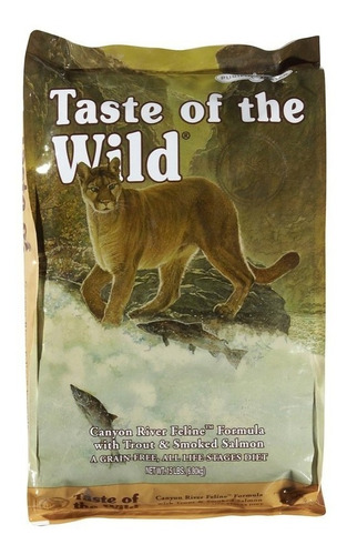 taste of the wild gatos canyon river 14 lbs + lata + env gra