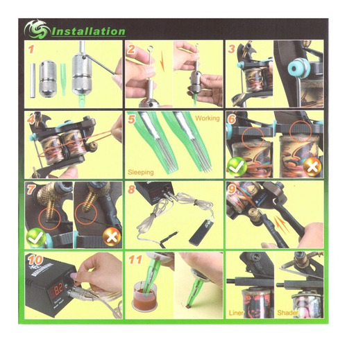 tattoo kit para tatuar 7 maquinas 1 fuente 40 tintas stencil