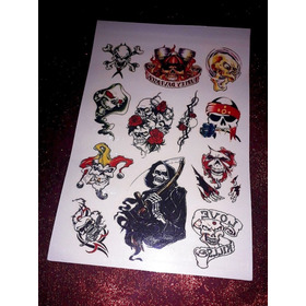 Tattoo Tatuajes Temporales Calavera Punk Moda Halloween New