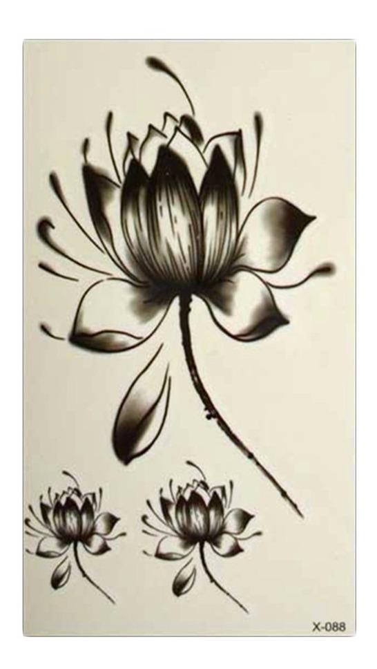 Tatuagem Rena Temporária Removível Tattoo Henna Flor Lótus