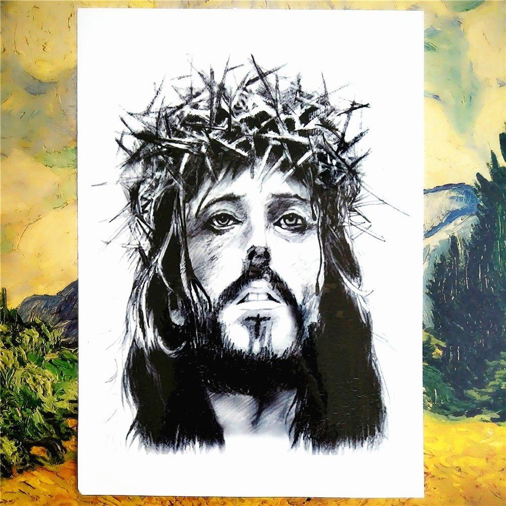 Tatuagem Temporária 3d Grande Jesus Cristo Coroa De Espinhos