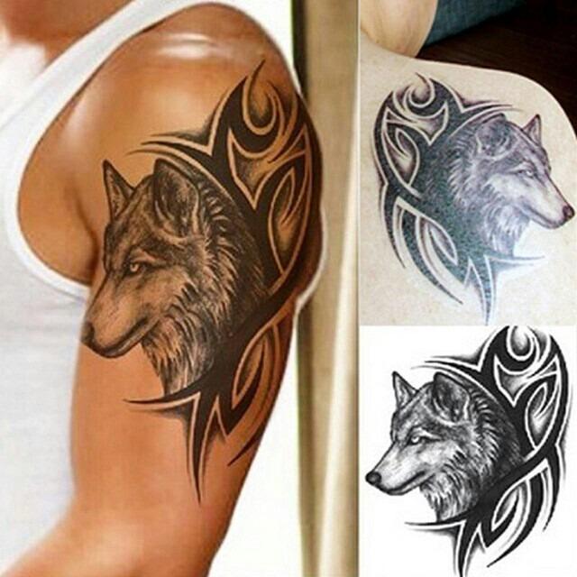 tatuagem tempor ria 3d grande real bra o cara do lobo tribal r 10 00 em mercado livre. Black Bedroom Furniture Sets. Home Design Ideas