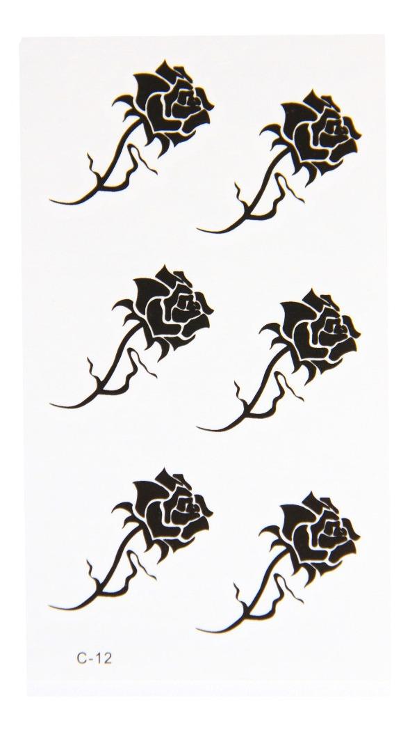 Tatuagem Temporaria Impermeavel Adesiva Rosa Negra Cod C12 R