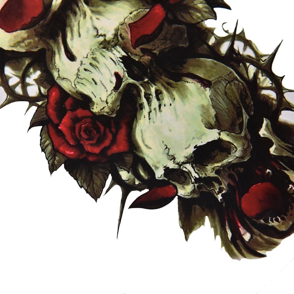 Tatuagem Temporaria Impermeavel Rosas Caveiras Tam Grande R