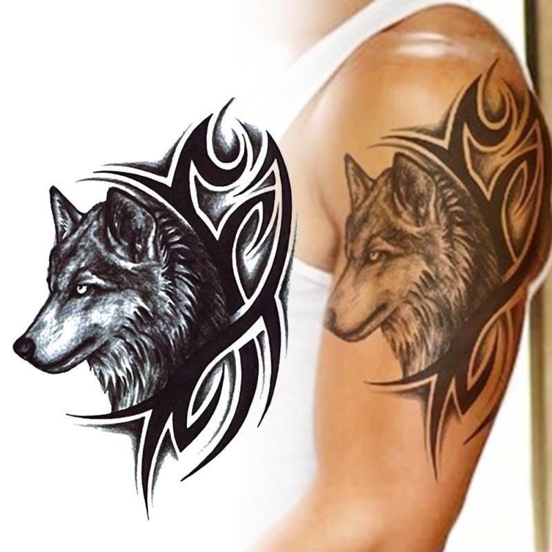 tatuagem tempor ria tattoo remov vel lobo frete gratuito r 24 89 em mercado livre. Black Bedroom Furniture Sets. Home Design Ideas