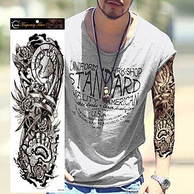Tatuaje Tattoo Temporal Hombre Manga Espinas Rosas 45x16 Cm 299