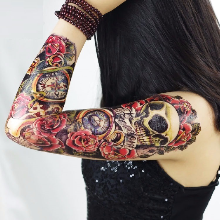 Tatuaje Tattoo Temporal Mujer Manga Rosas Y Relojes 45x16 Cm 300
