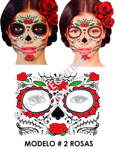 tatuaje temporal catrina mexicana disfraz dia de los muertos