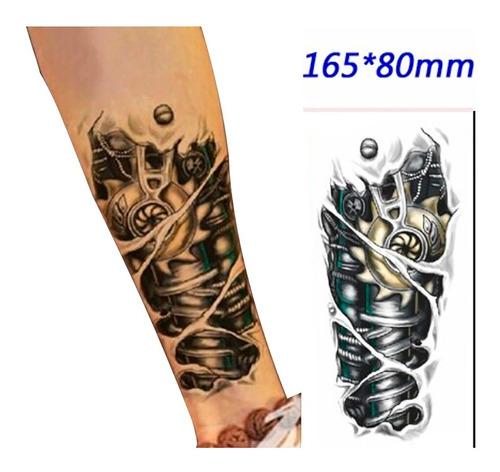tatuaje temporal cuerpo de metal