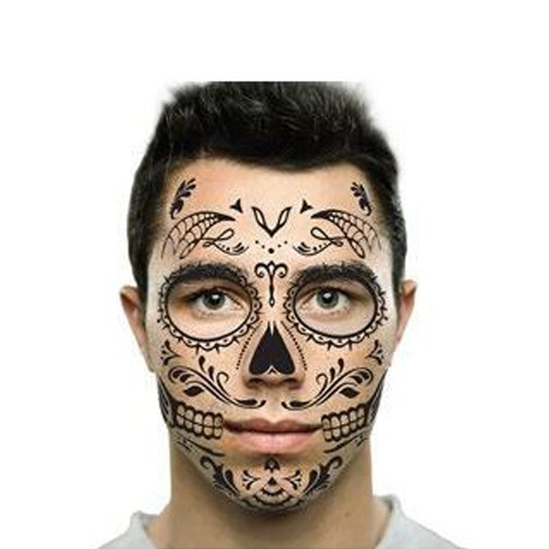 Tatuaje Temporal Hombre Catrina Mexicana Dia De Los Muertos