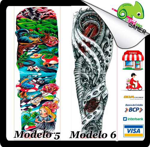 tatuajes temporales brazo color moda calavera tatto pez koi