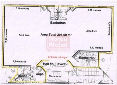 tatuapé - sala  comercial 200 m² úteis, com 6 banheiros + copa , com 04 vagas de garagem ! - 431