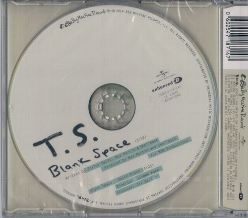 taylor swift - blank space cd single importación