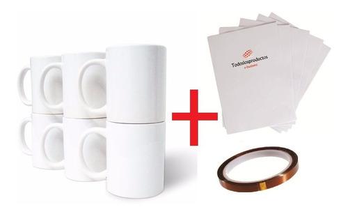 taza blanca 11oz caja+ papel a4 premium + tinta tlp premium 100ml cmyk+ cinta