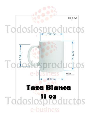 taza blanca 11oz tlp 24 piezas + papel a4 sublimar + 1 cinta térmica