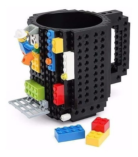 taza build-on diseño bloques ladrillos, armable negro