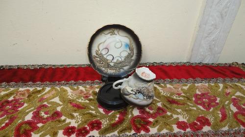 taza cafe porcelana japonesa antigua con dragones veala