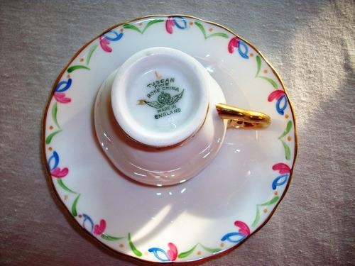 taza cafè porcelana tuscan england p/ a mano oro (no envios)