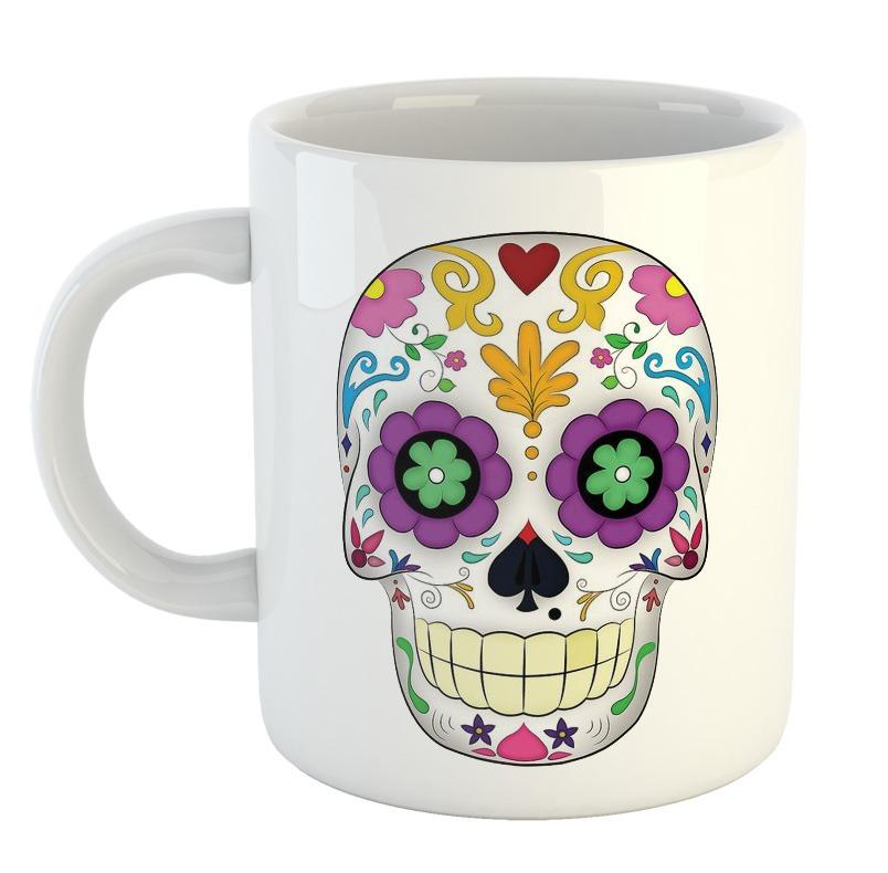 Taza Calavera Dia De Los Muertos Dibujos Colores Mejico Mod1 300