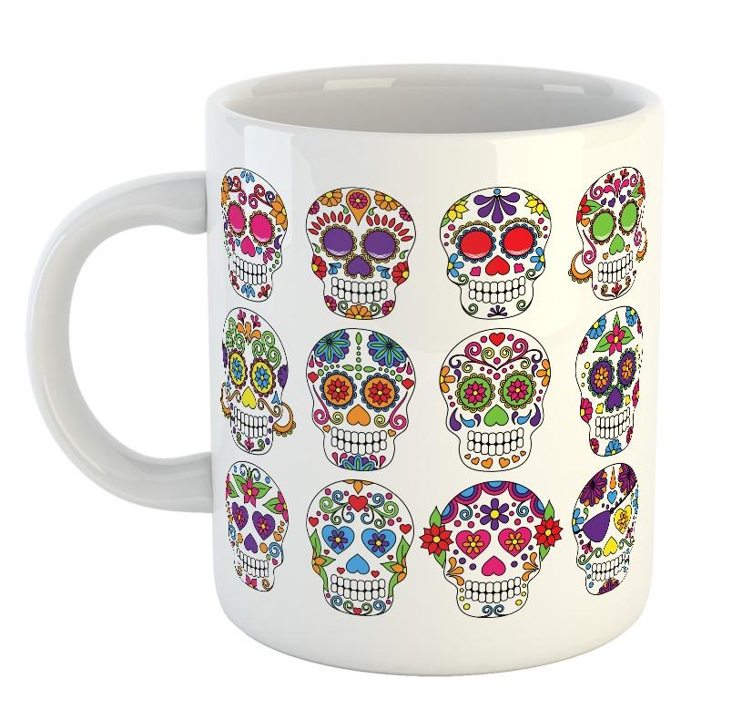 Taza Calavera Dia De Los Muertos Dibujos Colores Mejico Mod2 300