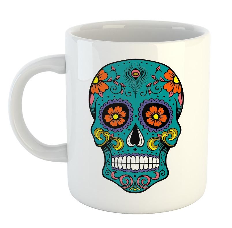 Taza Calavera Dia De Los Muertos Dibujos Colores Mejico Mod7 300