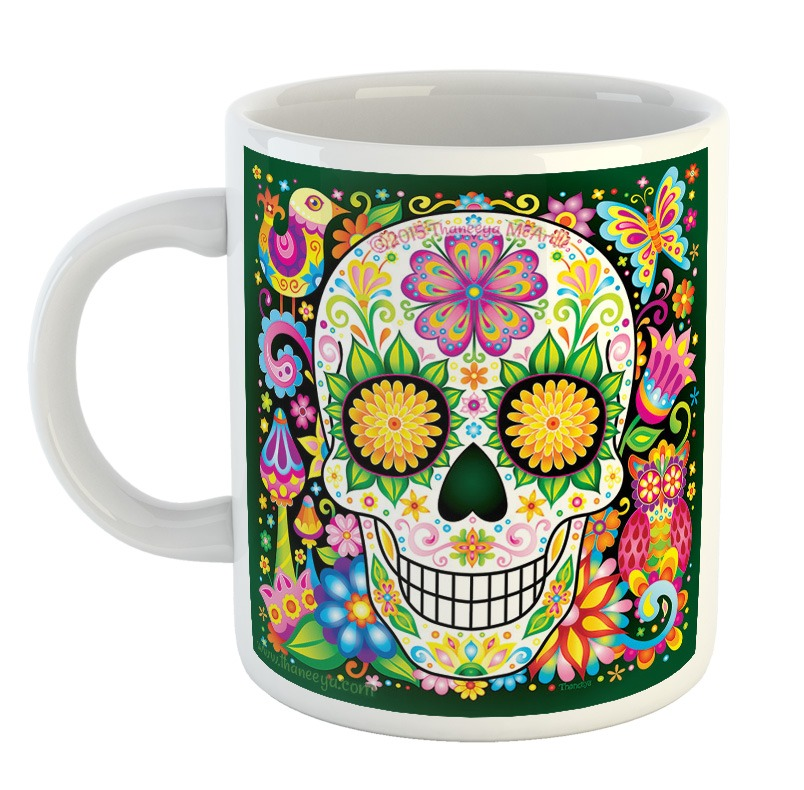 Taza Calavera Dia De Los Muertos Dibujos Colores Mejico Mod8 320