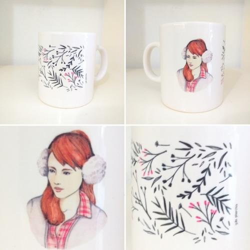 taza cerámica ilustraciones varias