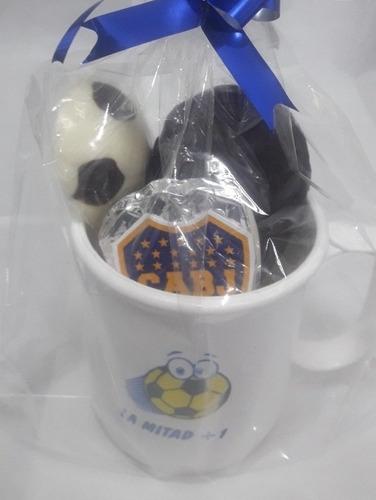 taza con chocolates futbol regalo cumpleaños hombreniñoscaba