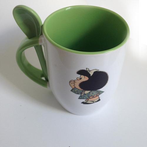 taza con cuchara personalizada mafalda diseño regal recuerdo