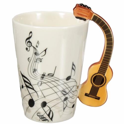taza con mango de guitarra notas musicales onduladas h1295