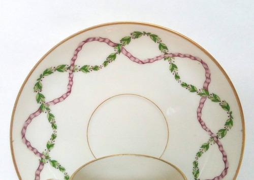 taza de cafe porcelana limoges france guirnaldas virola oro