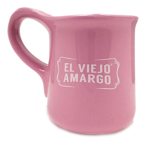 Taza De Cerámica Color Rosa Con Frase 330 Ml